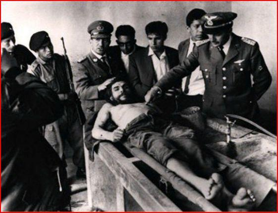 Che Guevara lying on his death bed